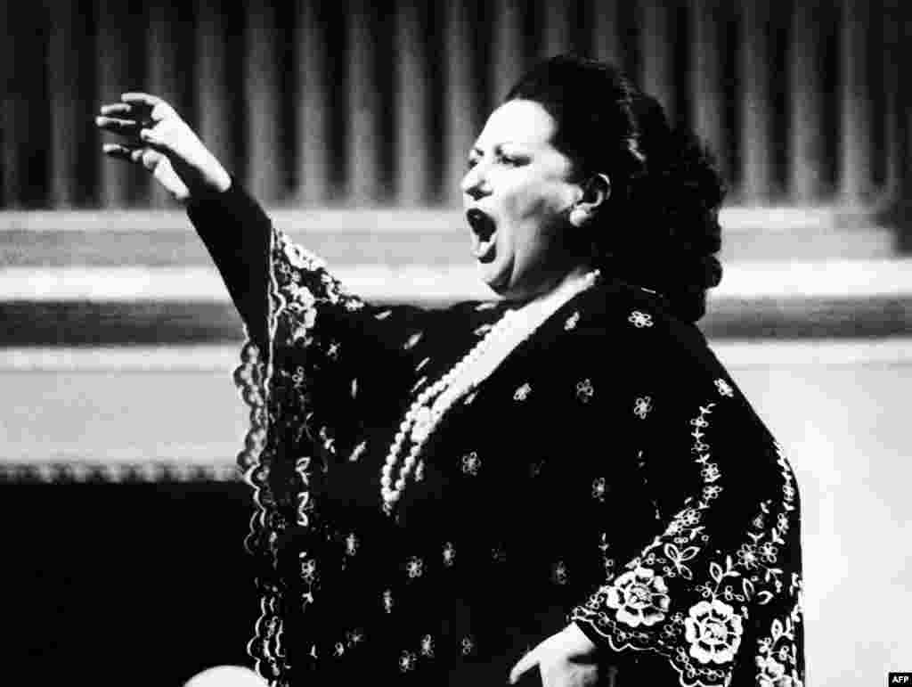 Spanish soprano Montserrat Caballe performs in Vienna on September 1, 1979.