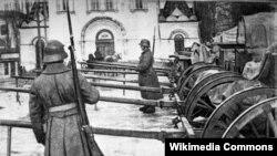 Германскія жаўнеры ў Менску, на саборнай плошчы, Першая сусьветная вайна
