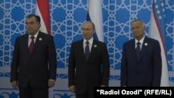 Э.Раҳмон, В.Путин ва И.Каримов дар нишасти Душанбе