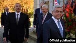 Ильхам Алиев и Серж Саргсян перед началом переговоров, Женева, 16 октября 2017 г․