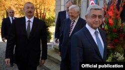 Շվեյցարիա - Հայաստանի երրորդ նախագահ Սերժ Սարգսյանը և Ադրբեջանի նախագահ Իլհամ Ալիևը Ժնևում բանակցություններից առաջ, 16-ը հոկտեմբերի, 2017թ․