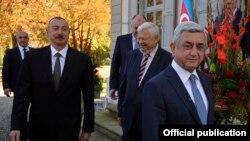 Президенты Азербайджана и Армении Ильхам Алиев и Серж Саргсян в Женеве
