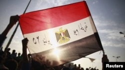 محتجون مصريون يرفعون علم بلادهم