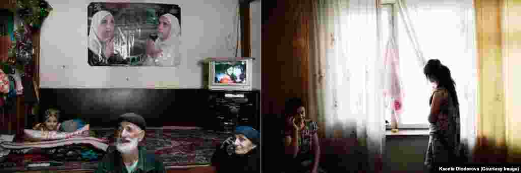 Left (in Khichez): Tajik migrants rent out flats with relatives or people from their home village. The rent for migrant workers is 1.5 times higher than for Russians. Six or seven people live in each room. Right (in Moscow): In the evening, mattresses are unfolded and spread on the floor. That's how people sleep in Pamir, lying close to each other to stay warm.