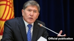 Kyrgyzstan - Kyrgyz President Almazbek Atambayev speaks during a news conference at the Ala-Archa state residence outside Bishkek, 29Dec2011