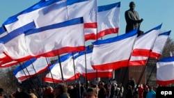 Митинг пророссийских сил в Симферополе. 15 марта 2014 года.