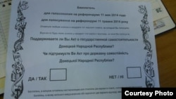 Ukraine -- ballot referendum, Donetsk, 7May2014