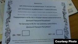 Ukraine -- ballot referendum, Donetsk, 7May2014