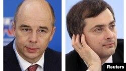 Төп урыннарда Путинга якын кешеләр - финанс министры Антон Силуанов (с), вице-премьер Владислав Сурков