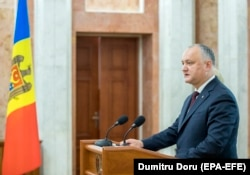 Moldovan President Igor Dodon speaks at a press conference in Chisinau on June 11.