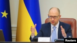 Ukrainian Prime Minister Arseny Yatsenyuk speaks during a government meeting in Kyiv. (file photo)