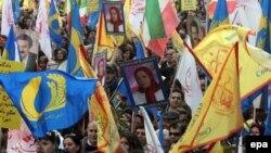 تظاهرات روز پنج شنبه سازمان مجاهدین خلق در بروکسل.