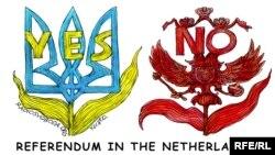 Ҳолландиядаги референдумга муносабат акс этган карикатура.