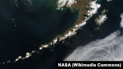A satellite picture of the Aleutian Islands and the Alaskan Peninsula