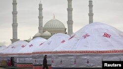 Yurts in front of the Khazret Sultan mosque during the Norouz celebration in Astana.