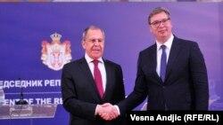 Рускиот министер за надворешни работи Сергеј Лавров и српскиот претседател Александар Вучиќ, Блград, 18.06.2020.
