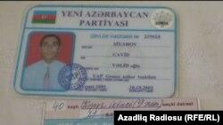 Azerbaijan - Party-membership card of one family in Ganja city - 03May2013
