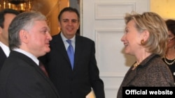 U.S. Secretary of State Hillary Clinton meets with Armenian Foreign Minister Eduard Nalbandian on the sidelines of the UN General Assembly last month.