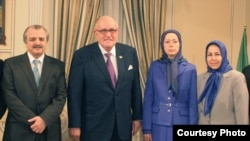 "Former NYC Mayor Rudy Giuliani was one of the well-known speakers at the ""Free Iran"" gathering in Paris, here he is seen with Maryam Rajavi, MEK leader and president-elect of the National Resistance Council of Iran in a photo taken prior to the event"