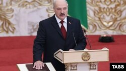 Belarusian President Alyaksandr Lukashenka takes the oath of office during an inauguration ceremony in Minsk on November 6.