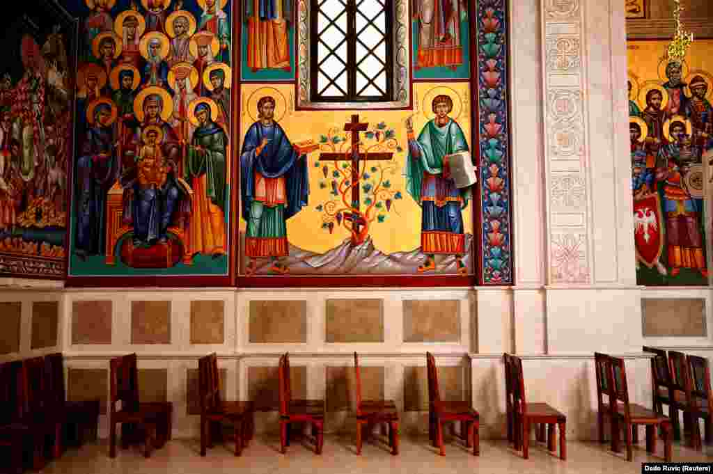 A line of chairs at the Cathedral of the Holy Transfiguration in Trebinje. The Orthodox cathedral dates to 1888.