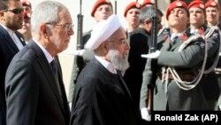 Австрия президенті Александр ван дер Беллен мен Иран президенті Хассан Роухани. Вена, 4 шілде 2018 жыл.