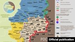 Фрагмэнт мапы зоны баявых дзеяньняў на Данбасе паводле стану на 16 верасьня 2016 году
