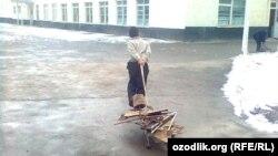 Uzbekistan - school boy is pushing scrap-metal to the school in Samarkand region