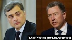The new sanctions were announced on the same day that the U.S. special envoy for the Ukrainian conflict. Kurt Volker (right) was due to meet with his Russian counterpart Vladislav Surkov (left).