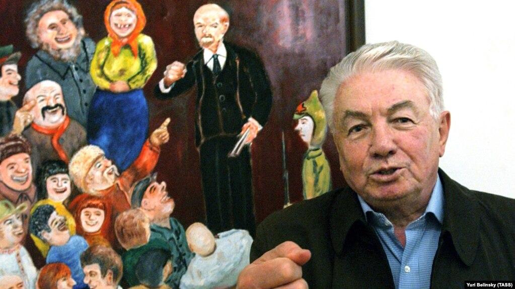 Владимир Войнович на открытии выставки своих картин
