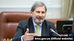 The EU's Johannes Hahn in Kyiv on November 9