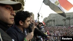 The scene in Tahrir Square on February 8, a week before President Hosni Mubarak handed power over to Egypt's military.