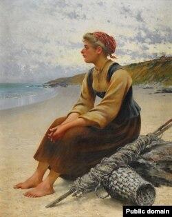 Аўгуст Хагбарг, «Зьбіральніца вустрыц на пляжы»