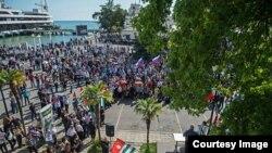 Митинг оппозиции в Сухуми, 31 мая 2014 года