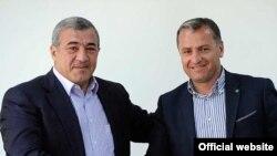 Президент ФФА Рубен Айрапетян (слева) и Вардан Минасян (фотография с официального сайта ФФА)