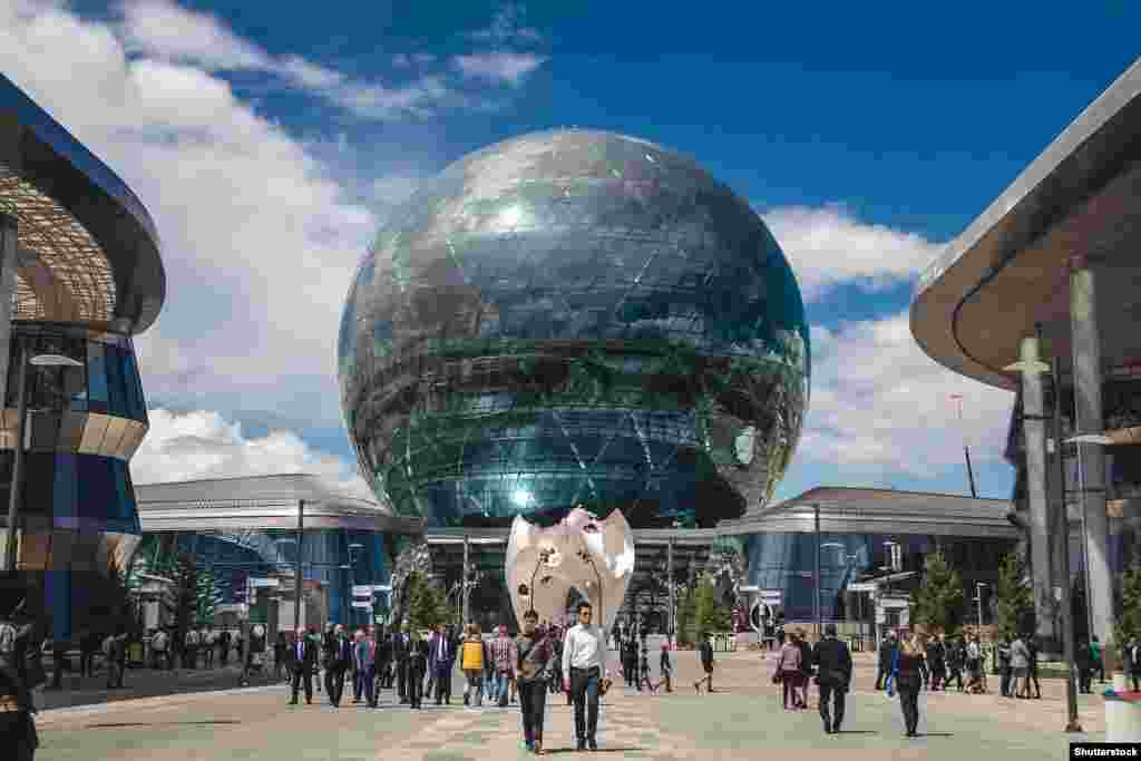 "The sphere built for the 2017 World Expo, which Astana hosted. The U.S.-based Foreign Policy magazine had its website briefly blocked in Kazakhstan after calling the building the ""Death Star."""