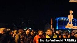 Detalj sa protesta u Kragujevcu '1 od 5 miliona', februar 2019.