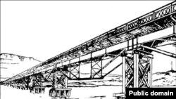 Керич бугазы аша 1944 елда төзелеп өч айдан җимерелгән күпер проекты
