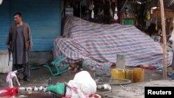 Последствия вчерашнего взрыва на рынке в провинции Кундуз