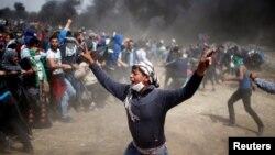 Протесты палестинцев у границы с Израилем в апреле