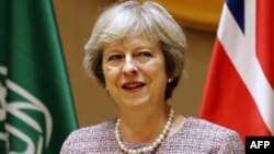 British Prime Minister Theresa May in Bahrain on December 7