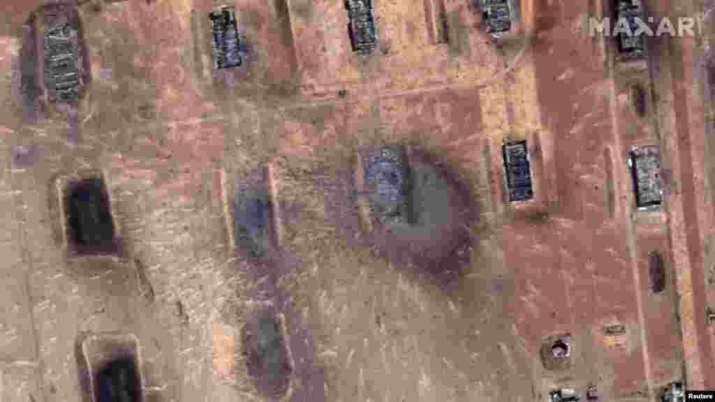 Kazakhstan - View of a munitions depot after blasts, near the town of Arys in southern Kazakhstan, on this handout satellite image released on June 25, 2019. Satellite image ©2019 Maxar Technologies/Handout via REUTERS ATTENTION EDITORS - THIS IMAGE HAS