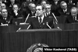 Первый секретарь ЦК КПБ Петр Машеров на трибуне XXV съезда КПСС, 25 февраля 1976 года