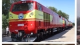 Kyrgyz Temir Jolu (Kyrgyz Railways). A train. Bishkek, Kyrgyzstan