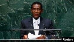 Теодоро Обианг Нгема Мбасого на трибуне ООН. 24 сентября 2014 года