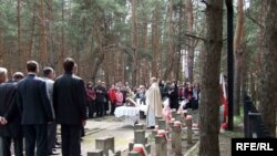 Poles in the Luhansk region commemorate the Katyn victims in Starobilsk on April 19.