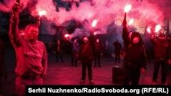 Під час акції «Хто замовив Катю Гандзюк?» біля офісу президента. Київ, 27 квітня 2020 року