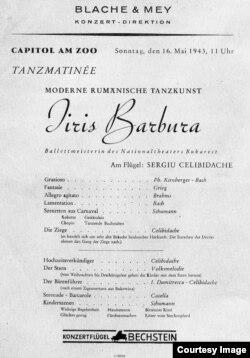 Programul unui spectacol din 1943 acompaniată și pe muzică de Sergiu Celibidache