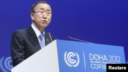 UN Secretary-General Ban Ki-moon addressed the Doha climate change conference on December 4.