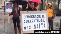 Պրահայի հայերի բողոքի ցույցը Ադրբեջանի նախագահի այցի կապակցությամբ, 5-ը ապրիլի, 2012թ.